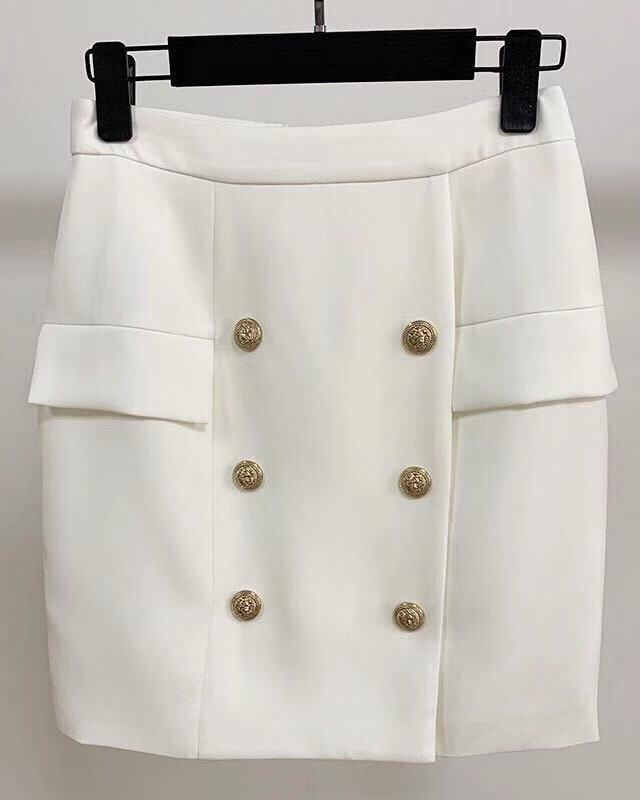 Jessica Bara Willa Gold Button Mini Skirt
