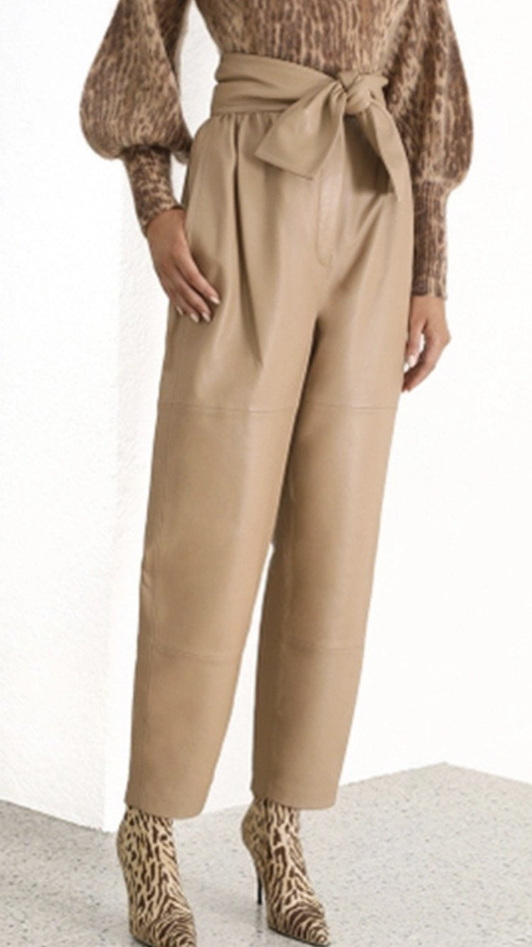 Jessica Bara Thea Faux Leather High Waist Pants