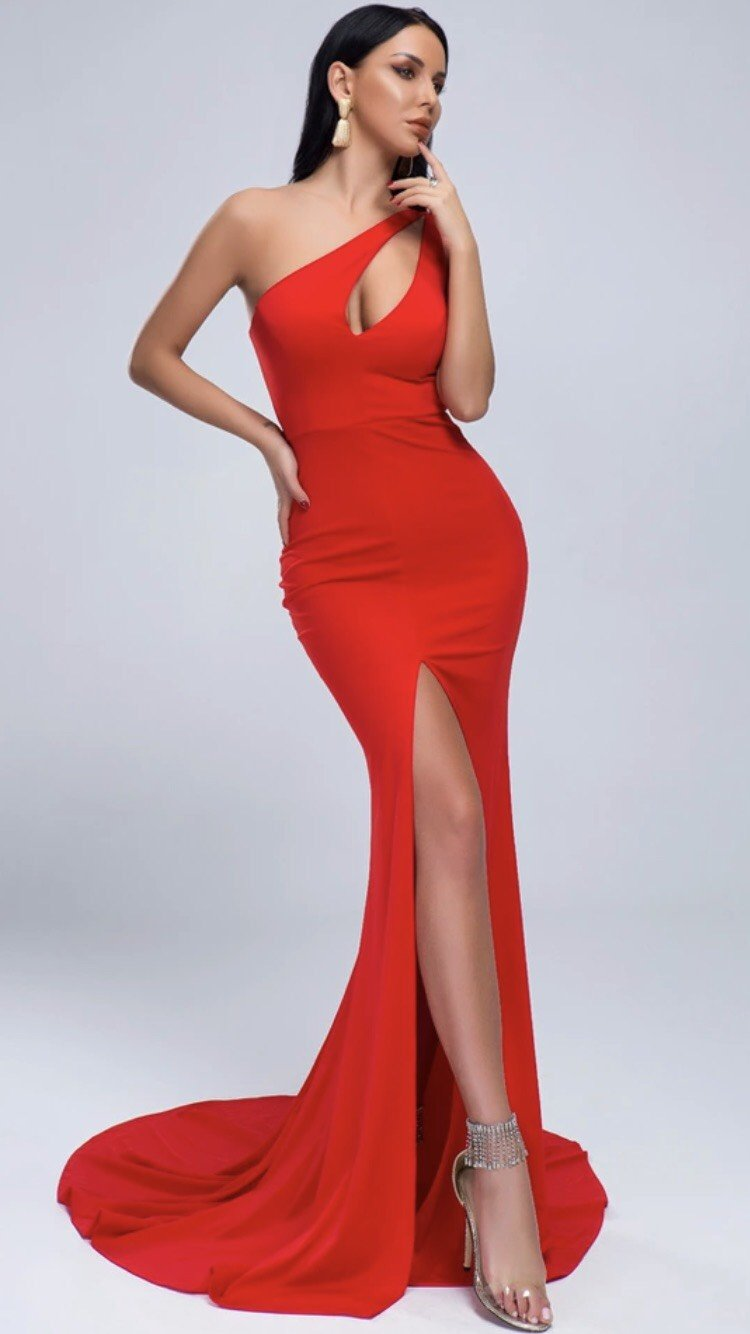 Jessica Bara Leila One Shoulder Cut Out Gown