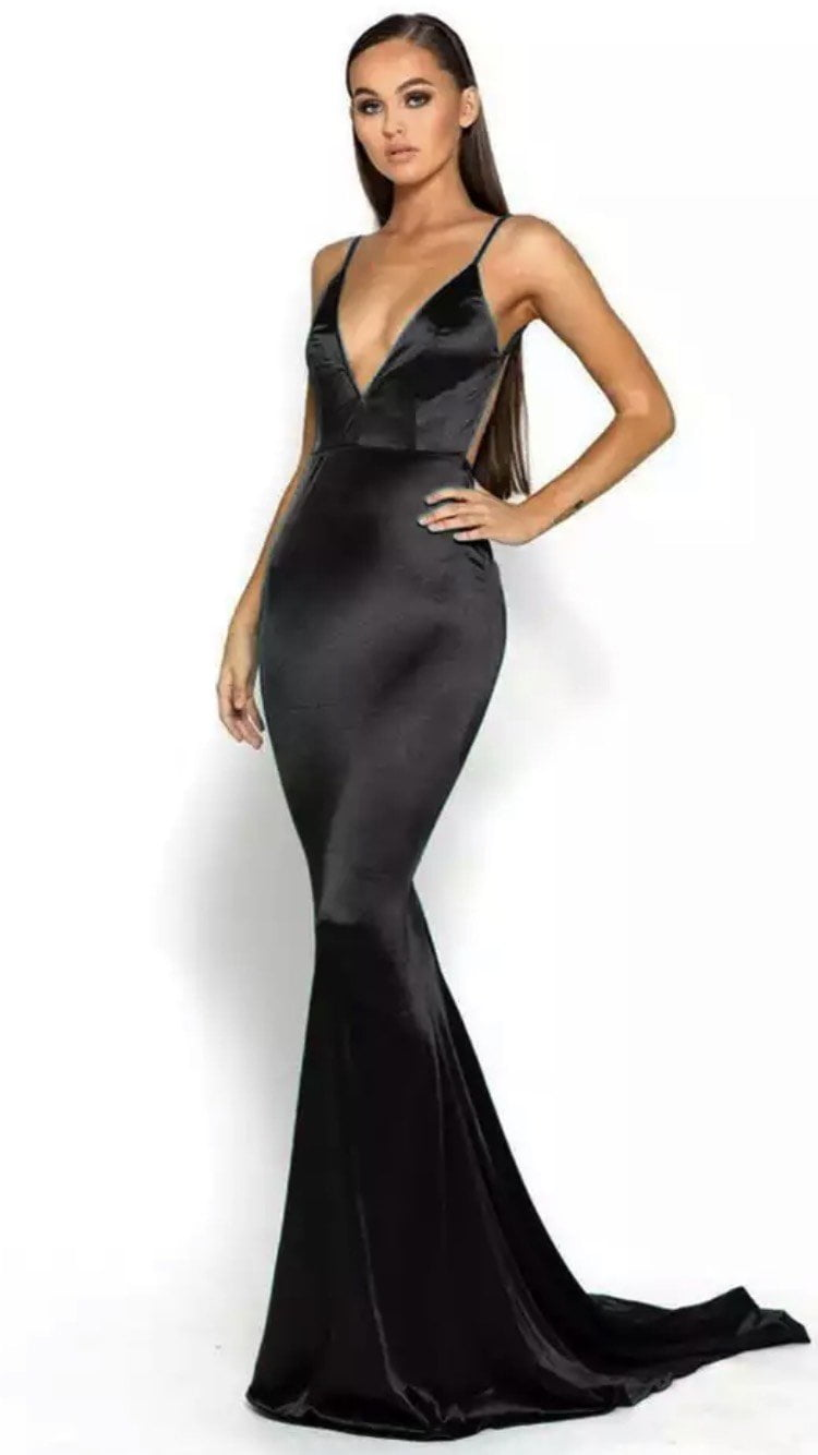 Jessica Bara Norah V Neck Bodycon Open Back Gown