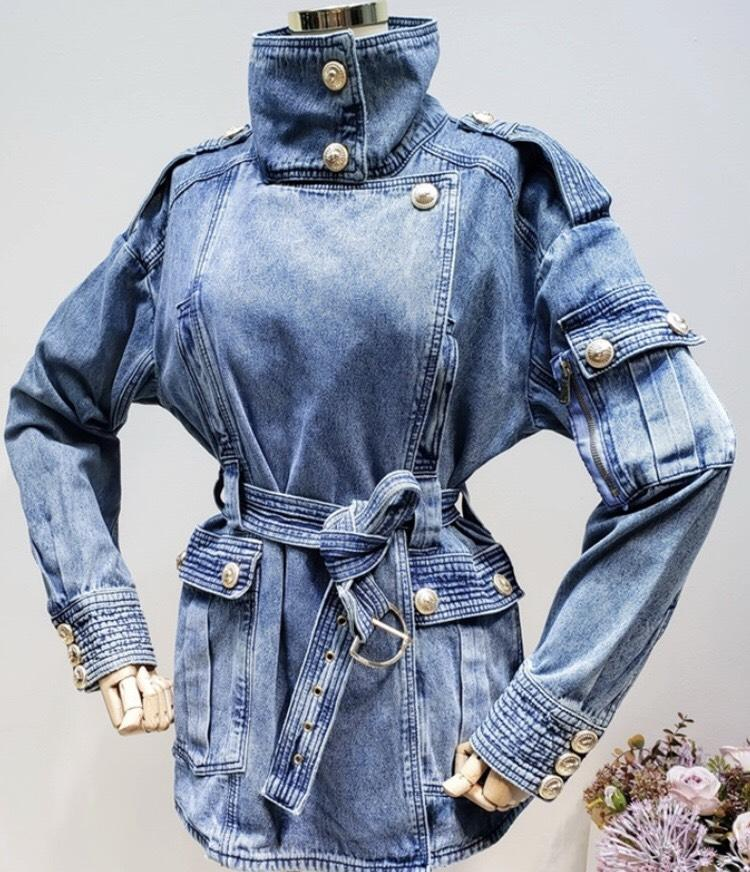 Jessica Bara Jayden Belted Gold Button Denim Jacket