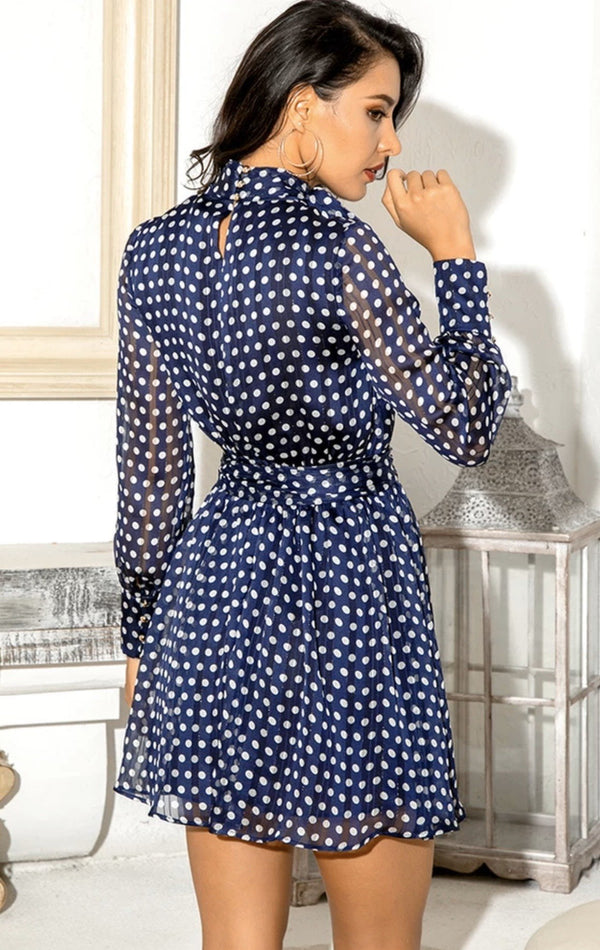 Jessica Bara Palmer Long Sleeve Polka Dot Belted Mini Dress
