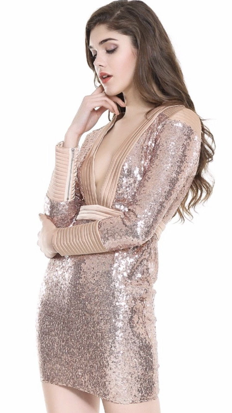 Jessica Bara Devin Long Sleeve Sequin Mini Dress