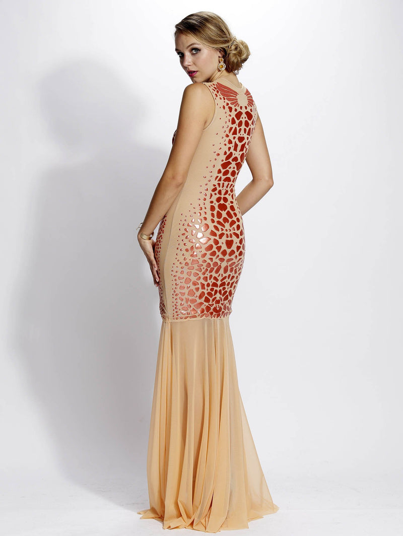 Baccio Wings Mesh Painted Long Dress