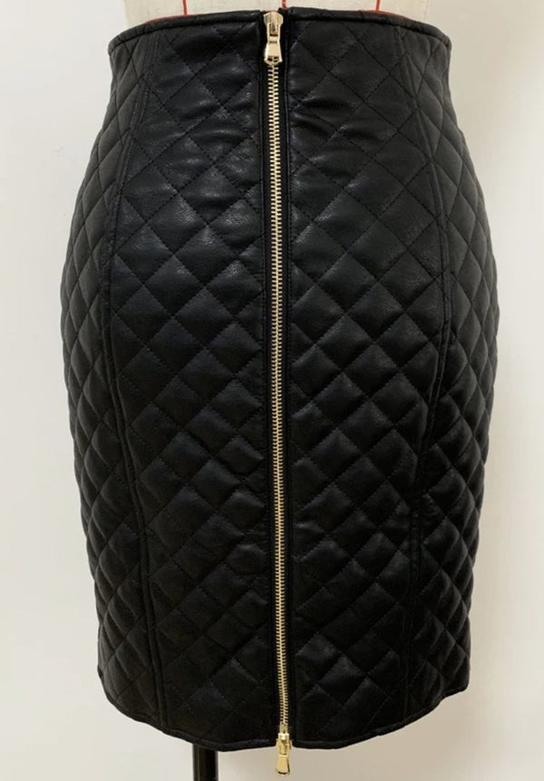 Jessica Bara Lilybelle Quilted Gold Button Skirt