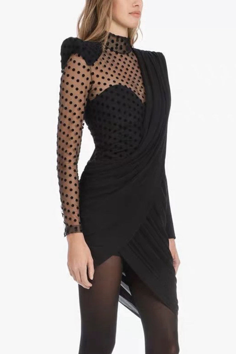 Jessica Bara Mabel Asymmetrical Polka Dot Mini Dress