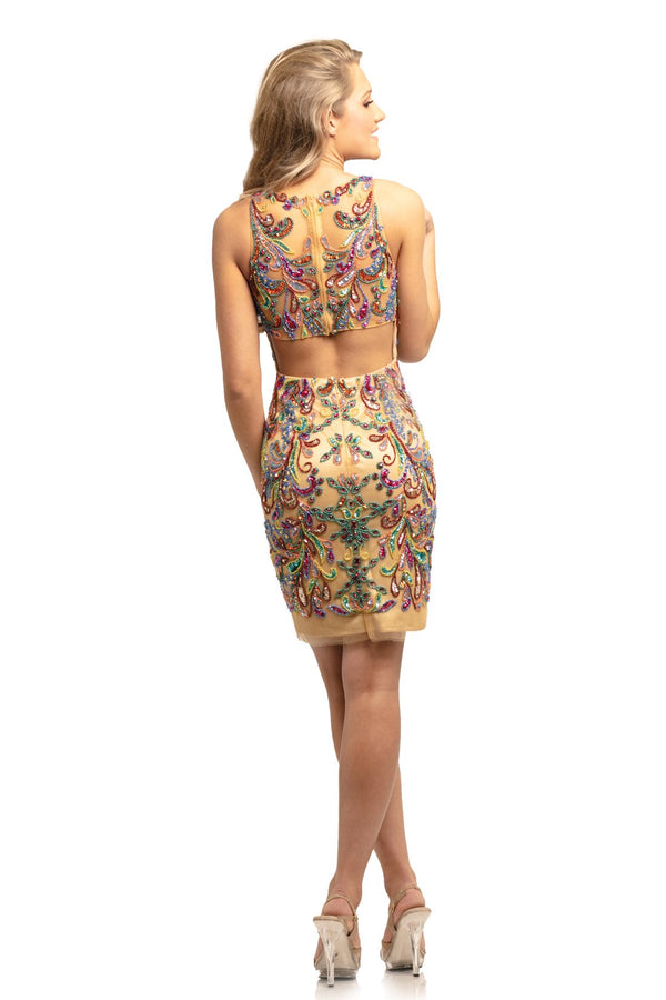Johnathan Kayne Beaded Sheath Mini Dress