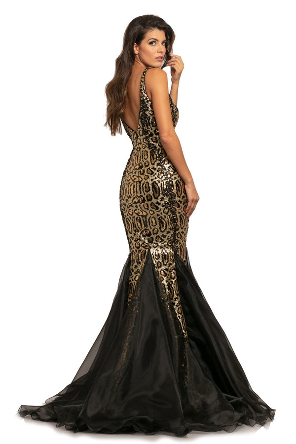 Johnathan Kayne Sequin Leopard Gown