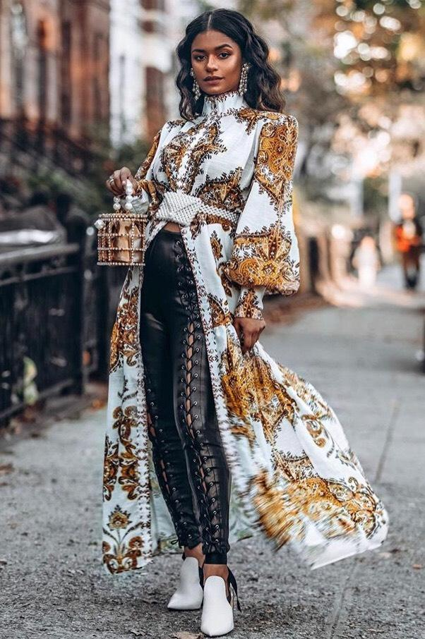 Jessica Bara Eden Long Sleeve Printed Maxi Dress