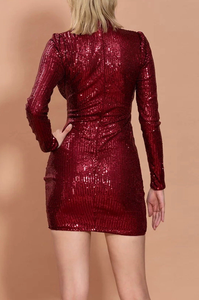 Jessica Bara Blaise High Neck Sequin Mini Dress