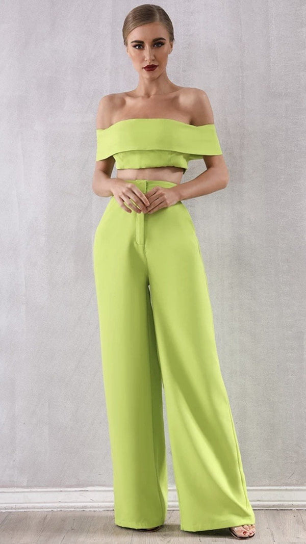 Jessica Bara Paola Crop Top and Pant Two Piece Set