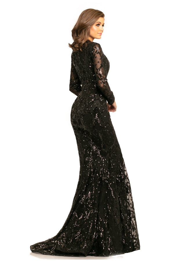 Johnathan Kayne Long Sleeve Sequin Gown