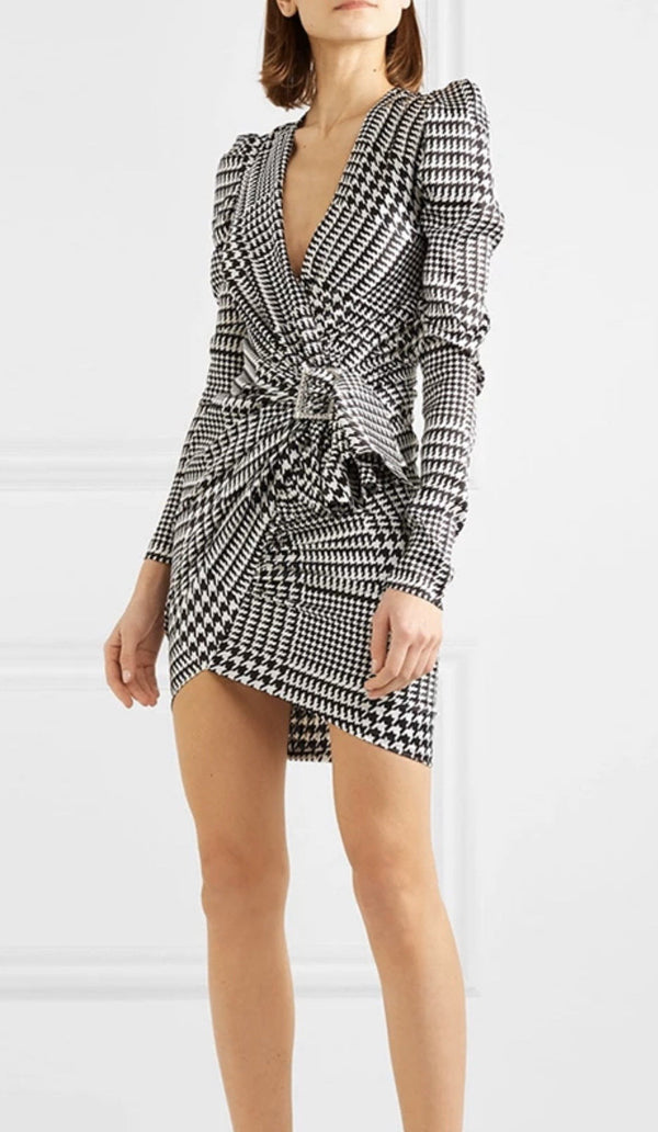 Jessica Bara Kimia Puff Sleeve Houndstooth Belted Mini Dress