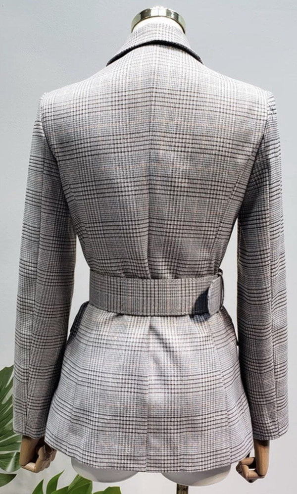 Jessica Bara Oaklee Plaid Gold Button Belted Blazer