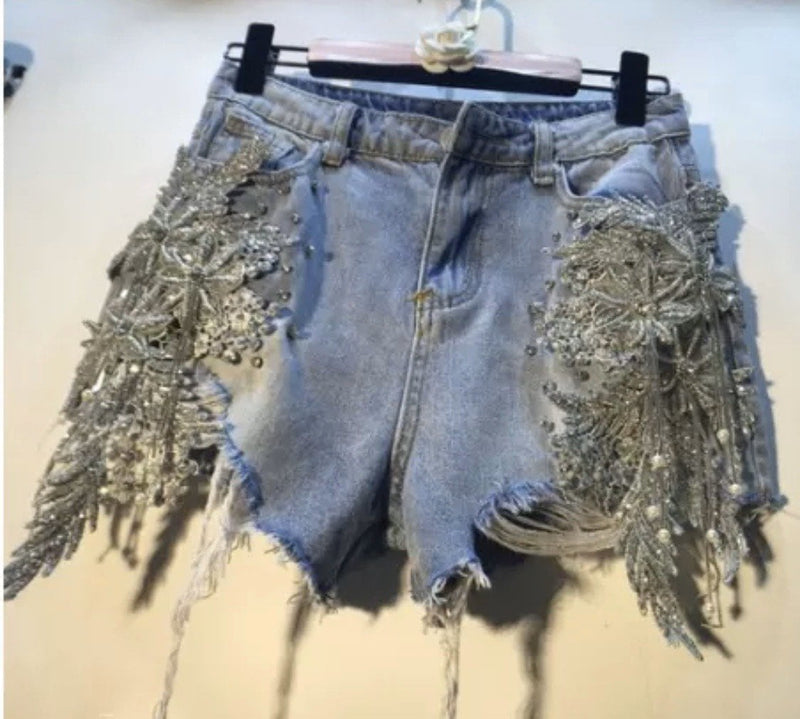 Jessica Bara Blythe High Waisted Rhinestone Denim Shorts