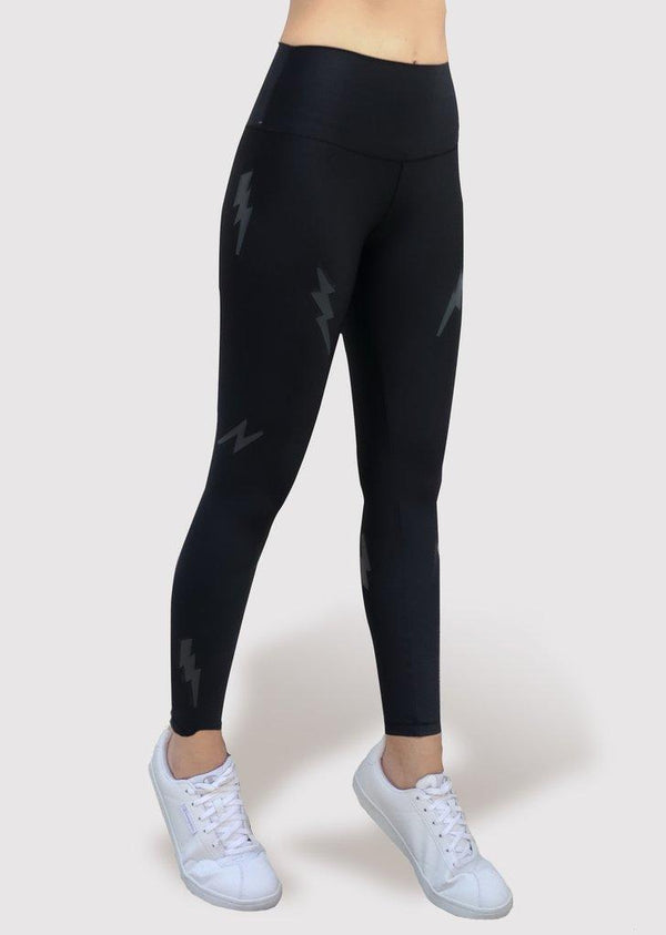 Active Fit Black Lightning Bolts Legging