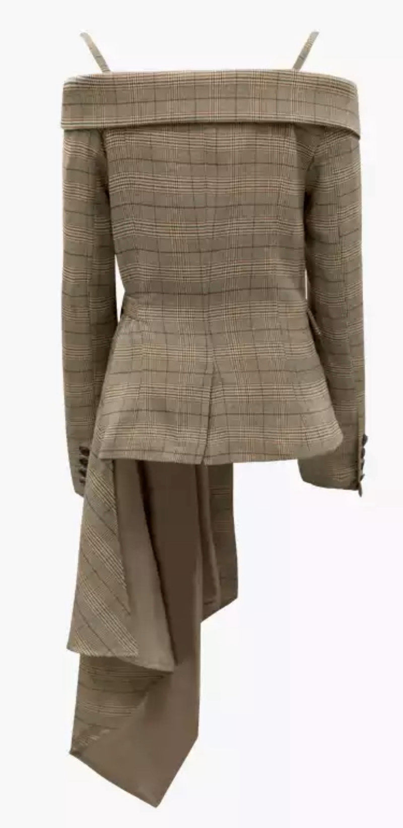 Jessica Bara Alora Plaid Off the Shoulder Asymmetrical Blazer