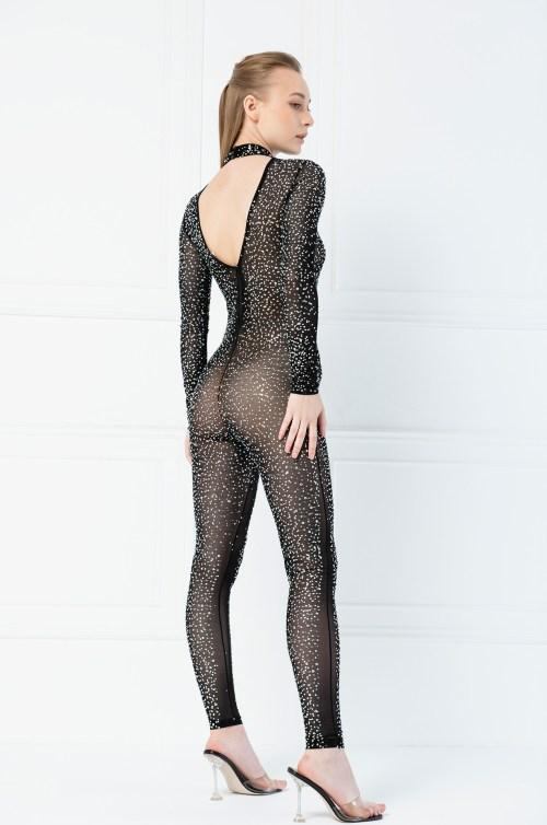 Jessica Bara Jane Rhinestone Beaded Jumpsuit