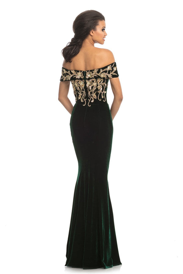 Johnathan Kayne Beaded Off The Shoulder Gown