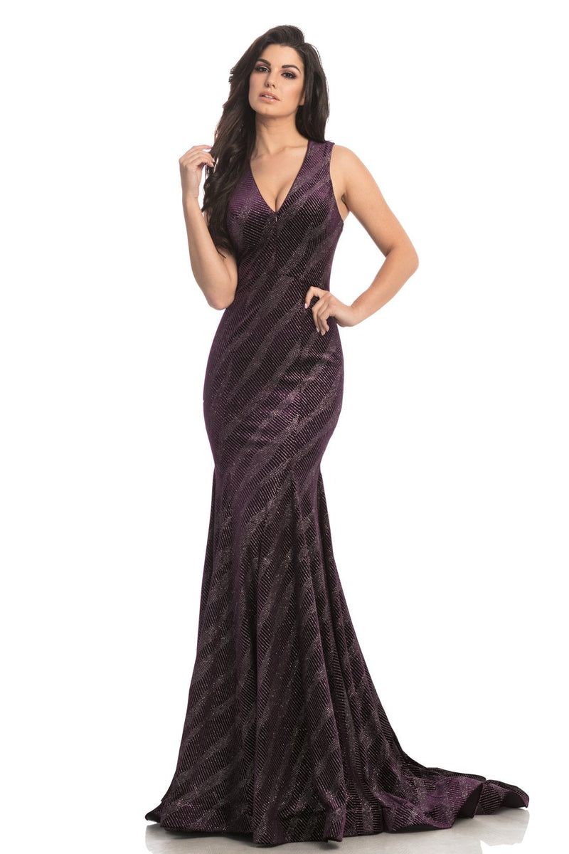 Johnathan Kayne Glitter V Neck Gown