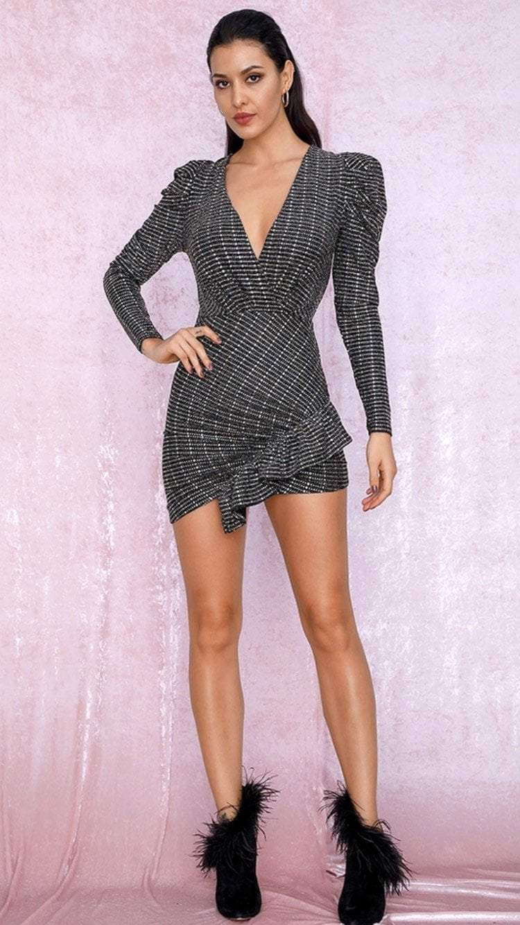 Jessica Bara Lauren Long Sleeve Glitter Mini Dress