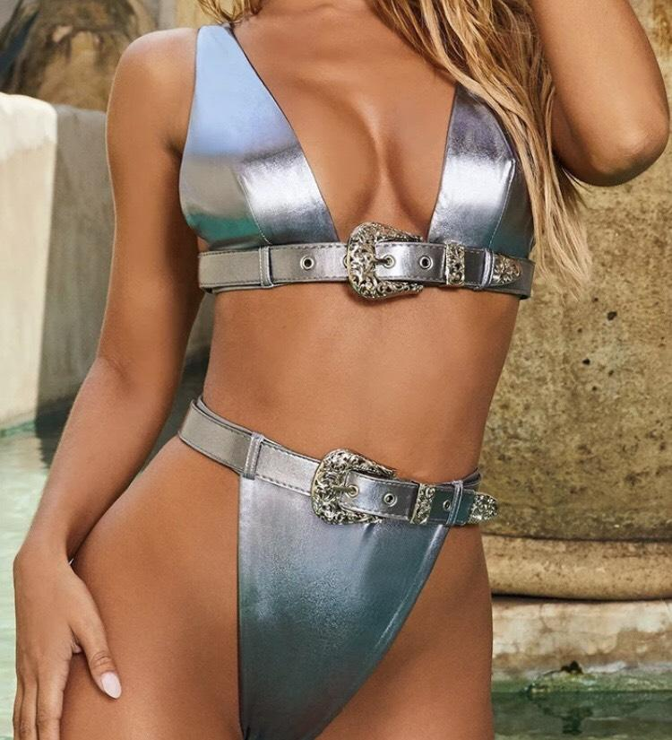 Jessica Bara Adele High Waisted Buckle Bikini Set