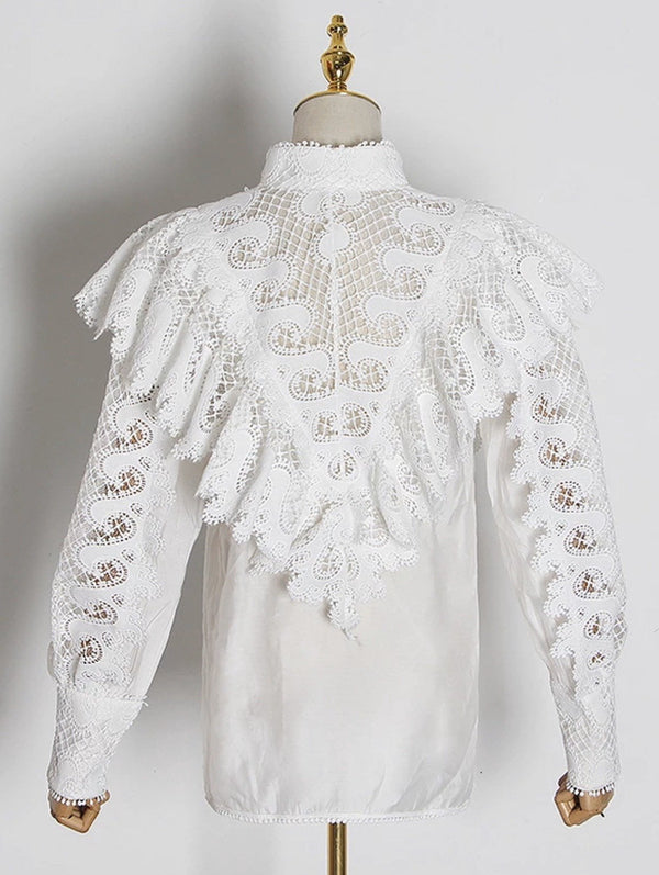 Jessica Bara Yvonne Long Sleeve Lace Blouse