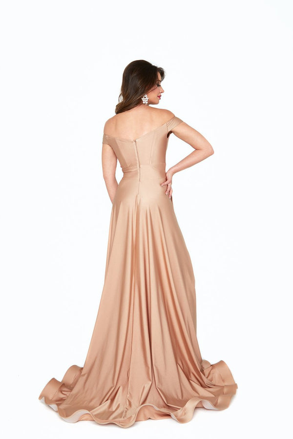 Atria Off the Shoulder Leg Slit Gown