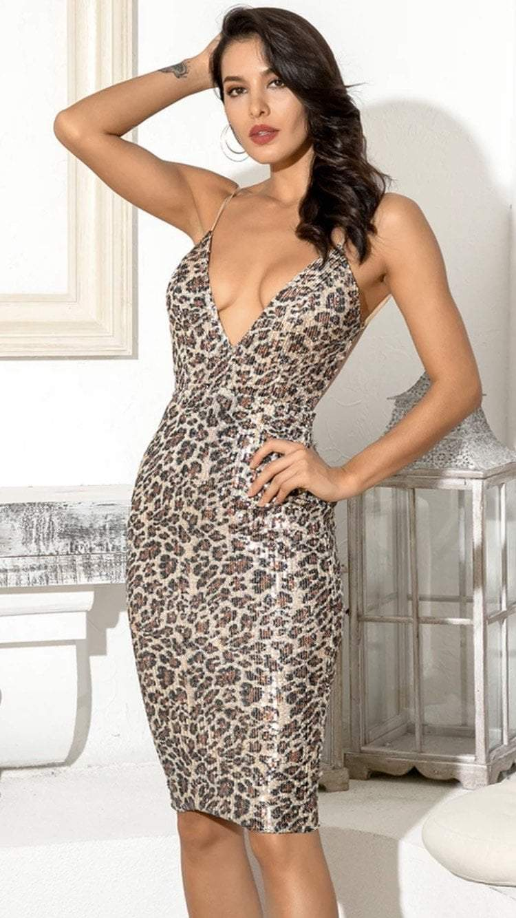 Jessica Bara Lexie V Neck Backless Leopard Sequin Dress