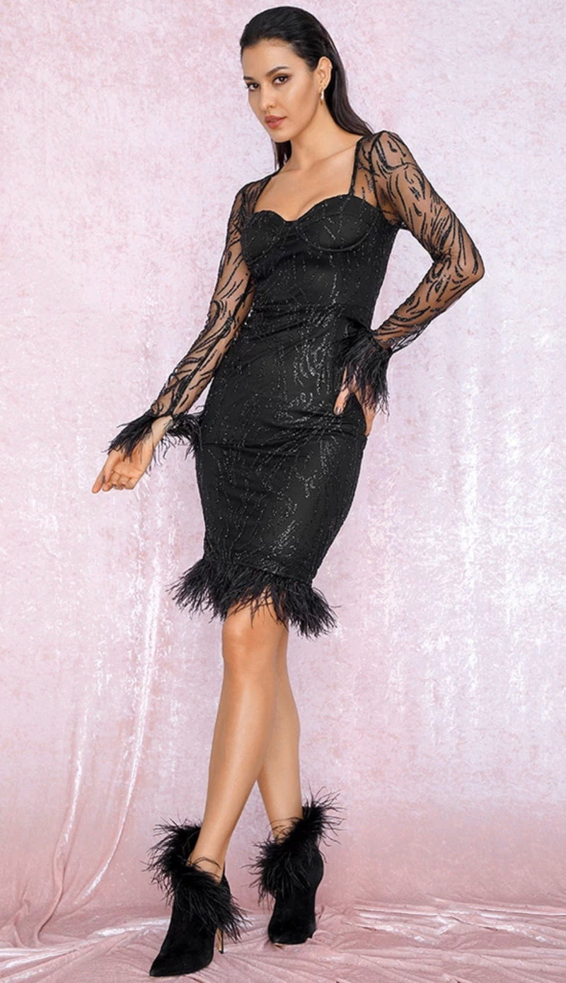 Jessica Bara Willow Feather Glitter Long Sleeve Midi Dress