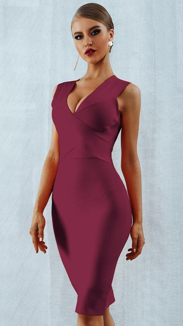 Jessica Bara Elina V Neck Bandage Midi Dress