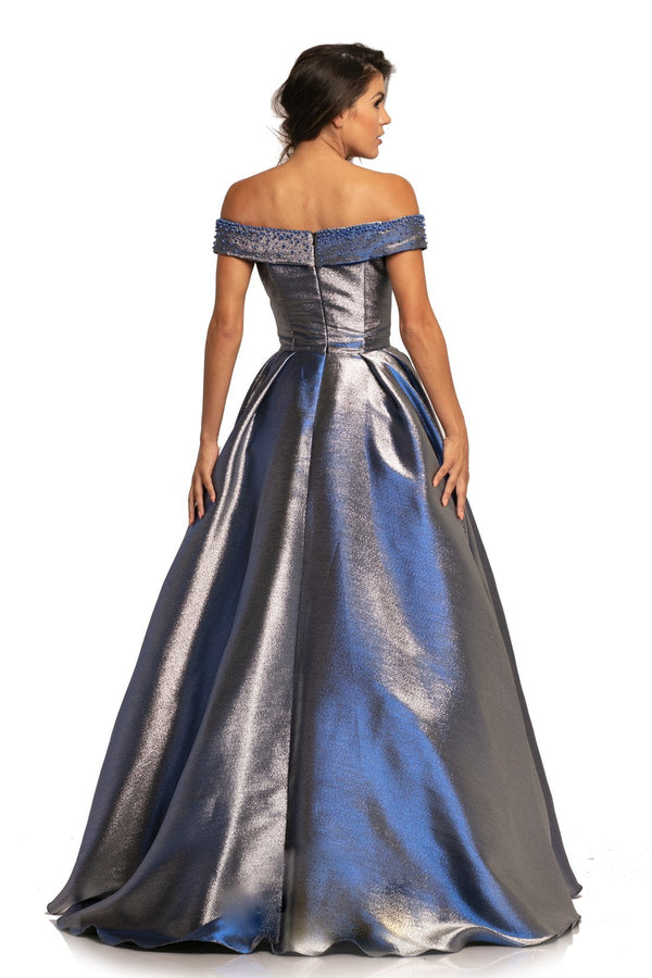 Johnathan Kayne Off The Shoulder Metallic Ballgown