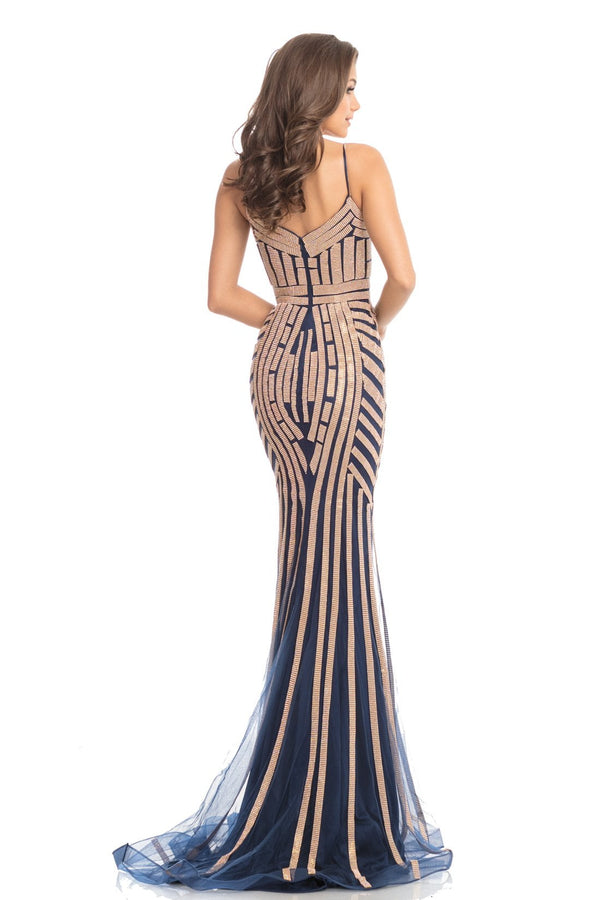 Johnathan Kayne Crystal Embellished Deep V Gown