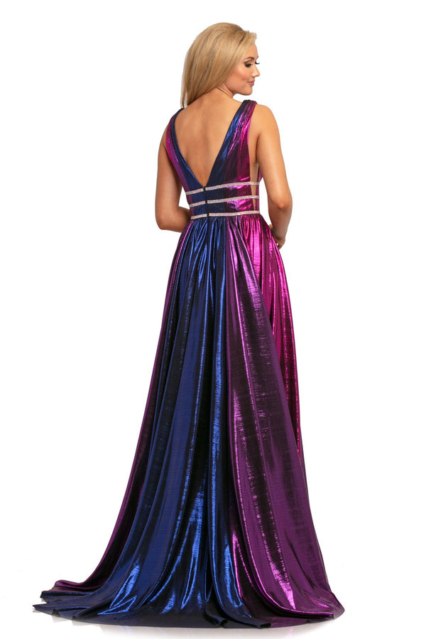 Johnathan Kayne Multi-Colored Metallic A Line Gown