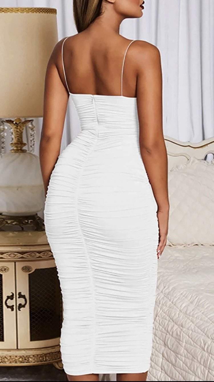 Jessica Bara Vera Ruched Bodycon Midi Dress