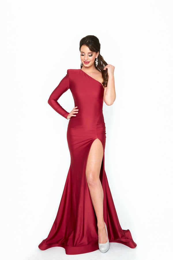 Atria One Shoulder Backless Bodycon Gown
