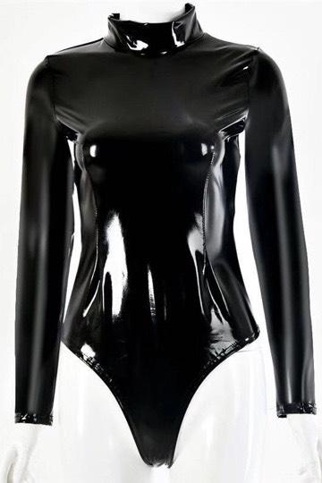 Jessica Bara Lyle Patent Leather High Neck Bodysuit