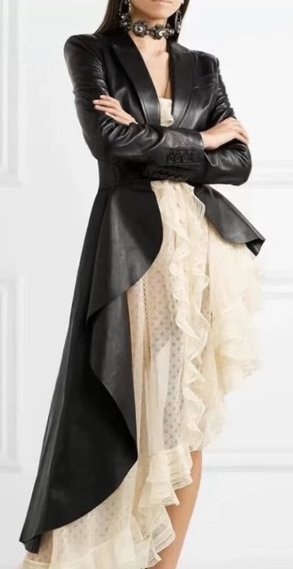 Jessica Bara Alannah Asymmetrical Belted Faux Leather Jacket