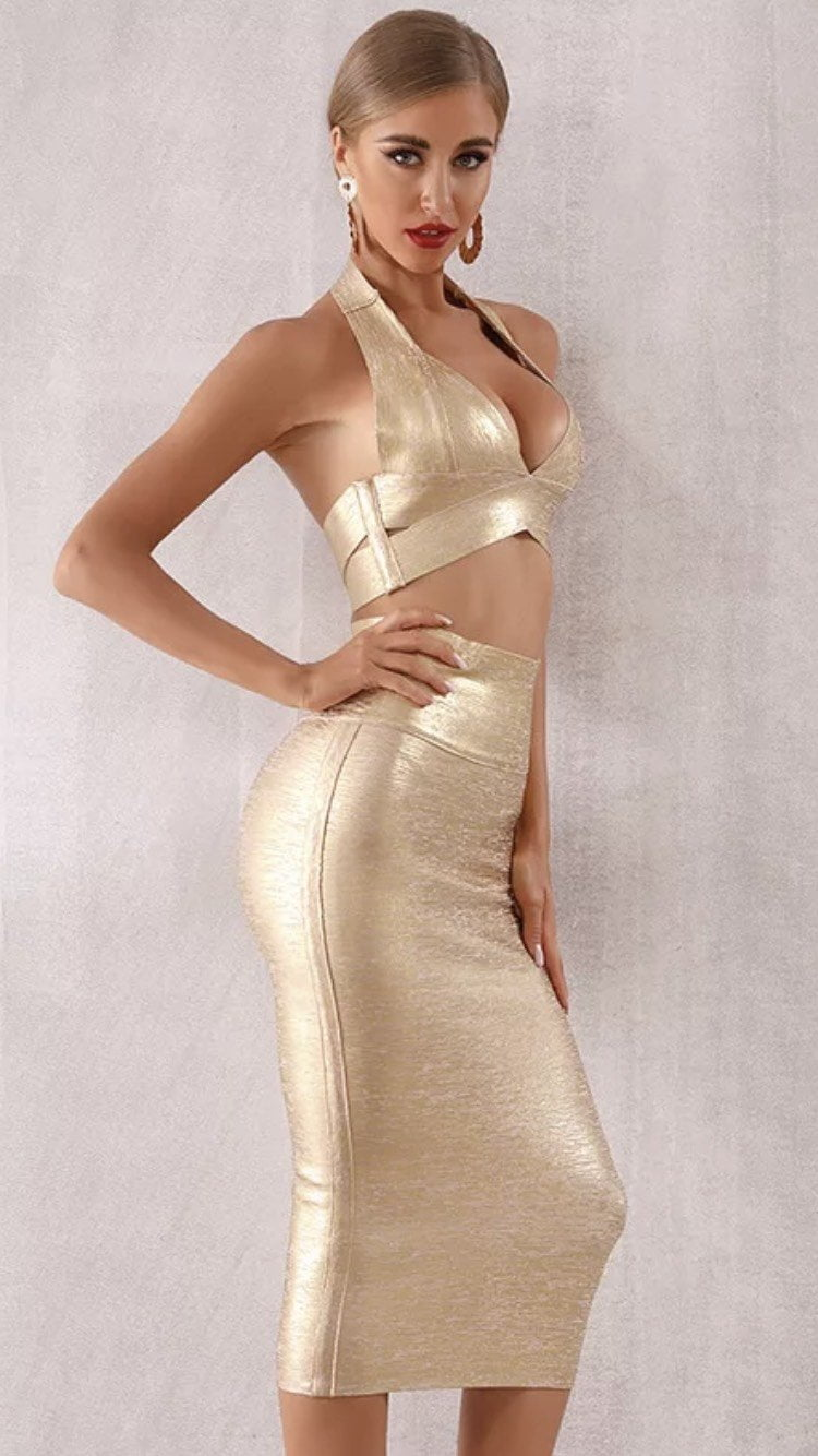 Jessica Bara Yara Crop Top and Skirt Bandage Two Piece Set