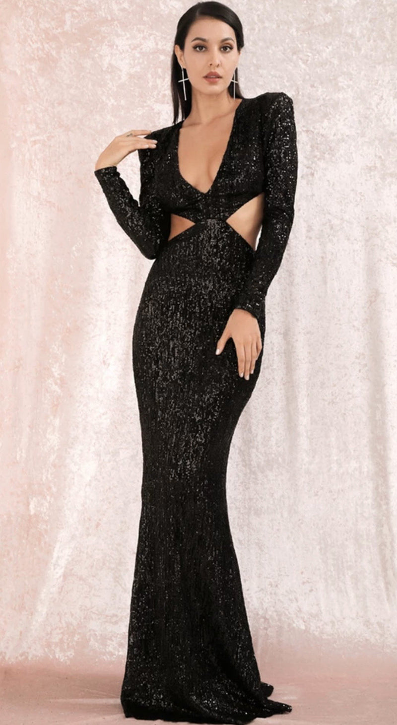 Jessica Bara Ariah Long Sleeve Cut Out Sequin Gown