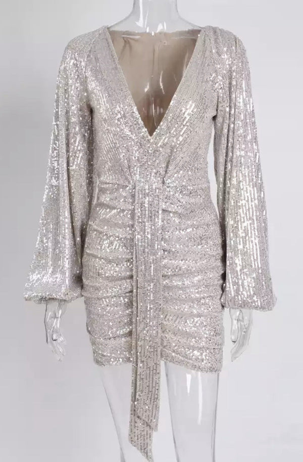Jessica Bara Lambert Sequin Draped Mini Dress