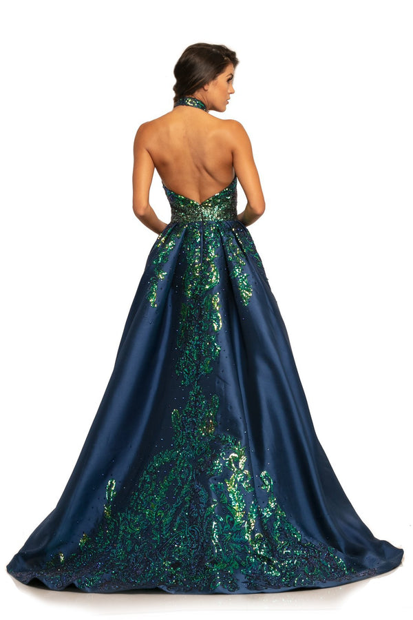 Johnathan Kayne Sequin Halter Gown With Overskirt