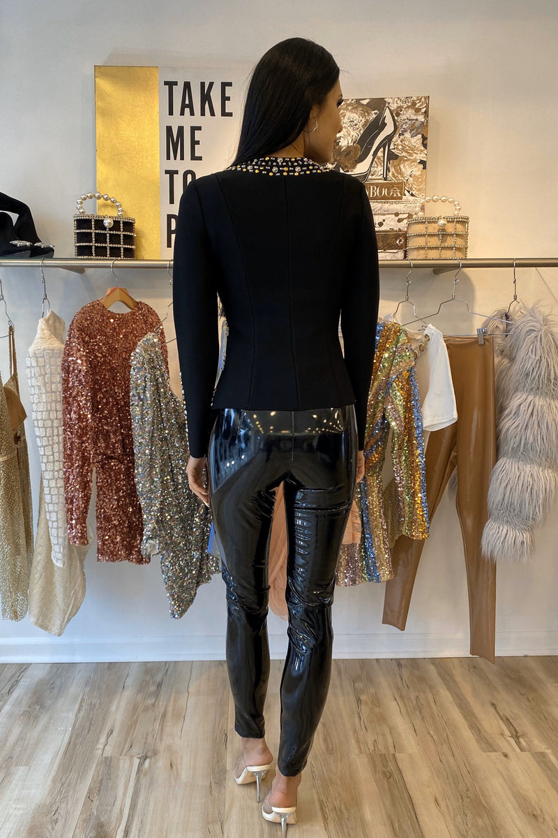 Jessica Bara Roscoe Long Sleeve Beaded Crystal Jacket
