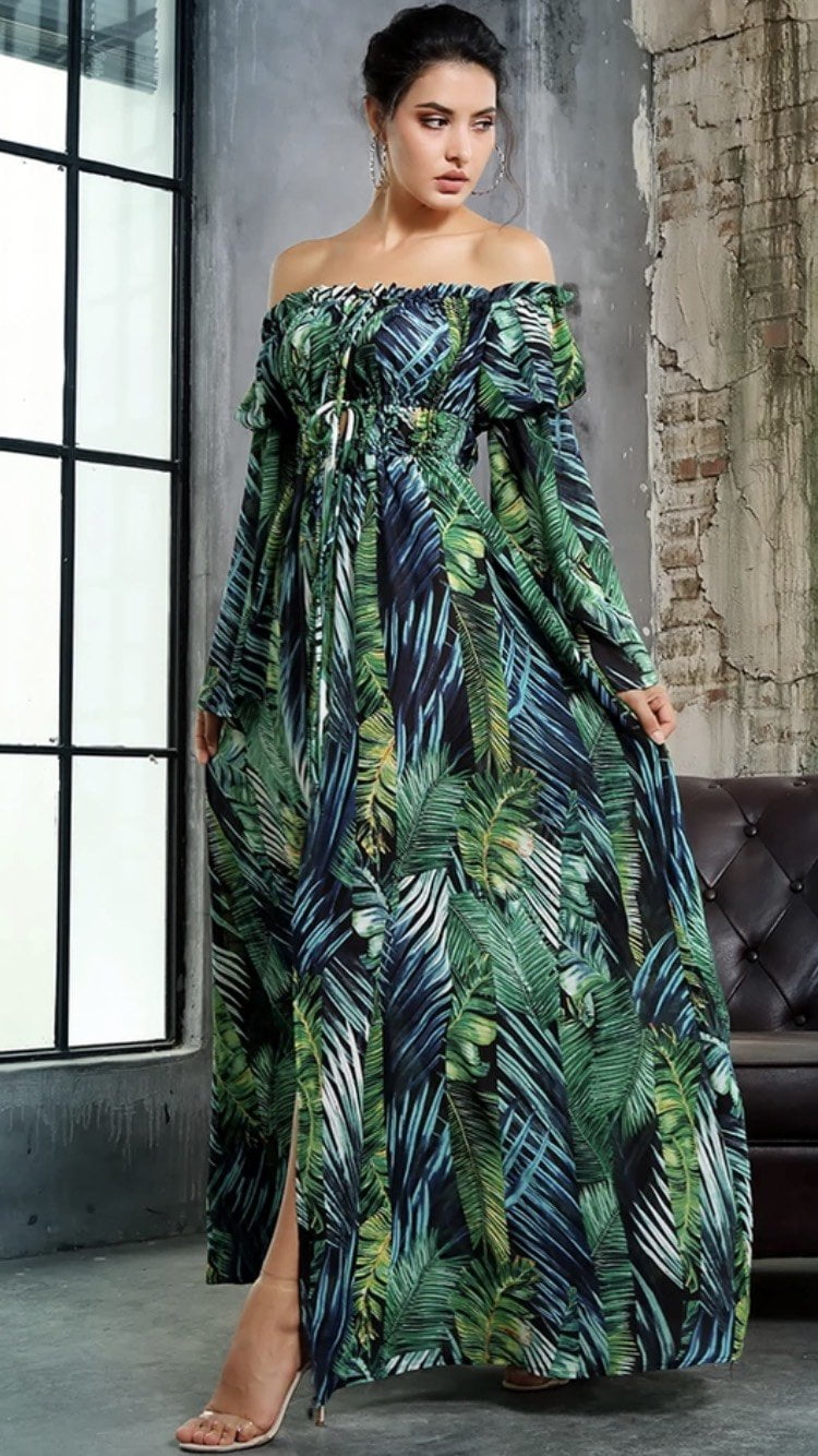 Jessica Bara Trini Palm Tree Off Shoulder Maxi Dress