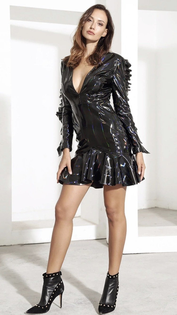 Jessica Bara Adwoah V-Neck Latex Ruffled Dress