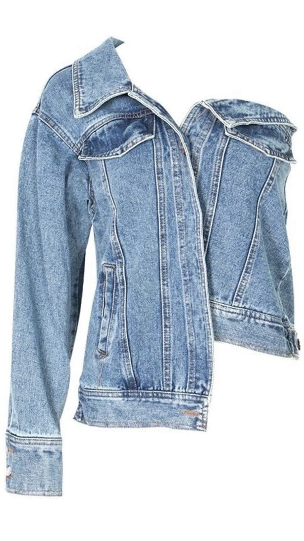 Jessica Bara Nellie One Shoulder Denim Jacket