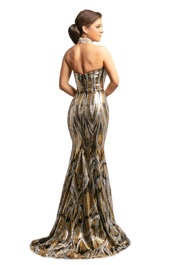 Johnathan Kayne Beaded V Neck Gown