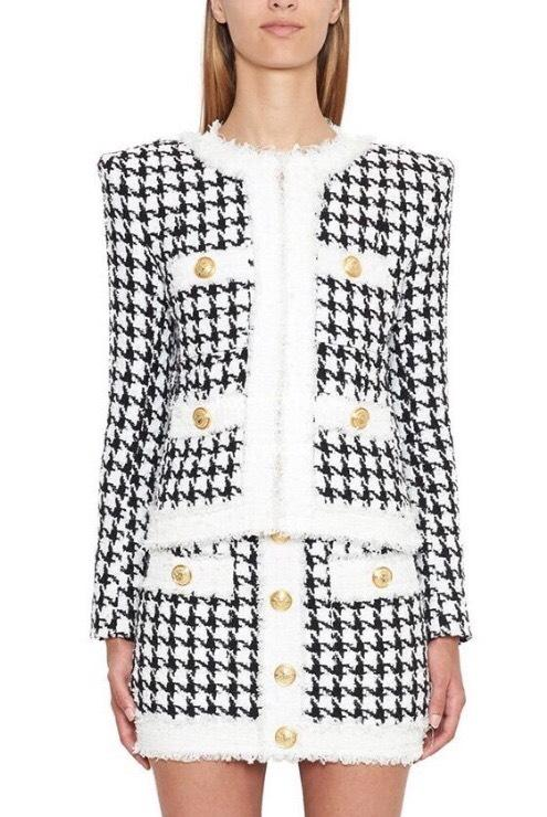 Jessica Bara Louise Tweed Houndstooth Two Piece Set