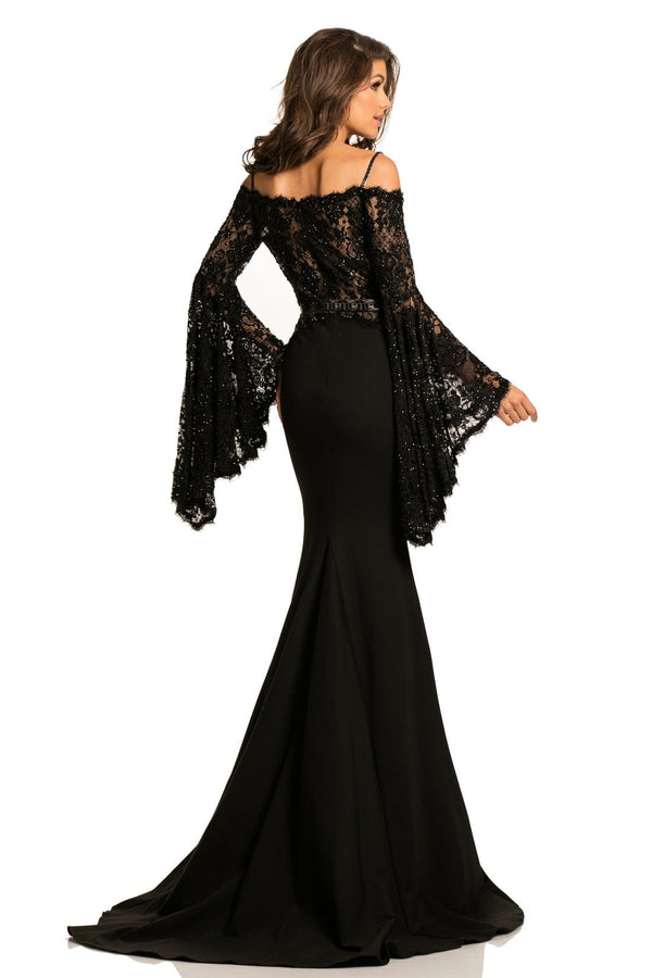 Johnathan Kayne Off The Shoulder Lace Gown
