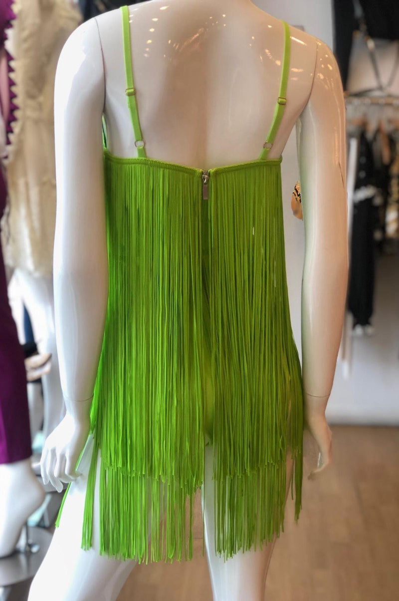 Jessica Bara Frida Fringe Lime Mini Dress